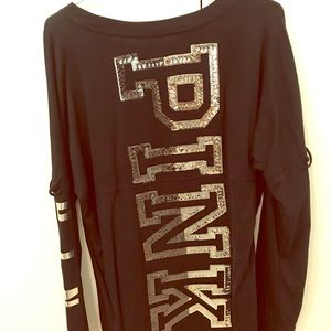 Brand new VS PINK long sleeved black graphic shirt